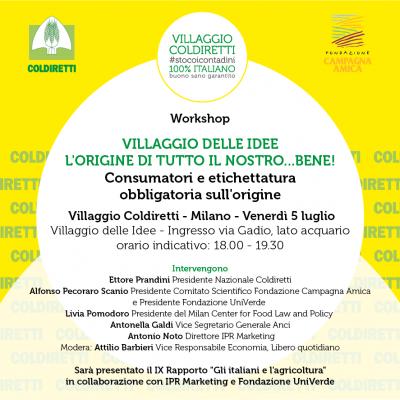 INVITO - Milano, 5 luglio 2019 - Villaggio Coldiretti e Rapporto agricoltura
