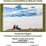 """""""Turismo e sostenibilità: le sfide per l'Italia"""". Presentazione 9° Rapporto """"Gli italiani, il turismo sostenibile e l'ecoturismo"""